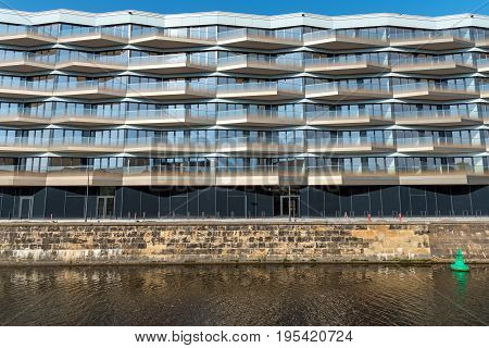 New modern apartment house at the waterside in Berlin, Germany