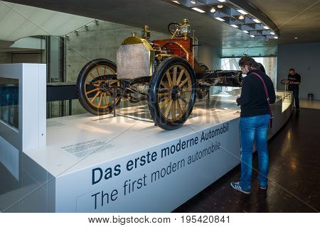 STUTTGART GERMANY- MARCH 19 2016: The chassis Mercedes 35 PS 1906. Mercedes-Benz Museum.
