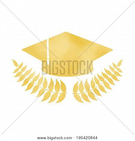Golden graduation cap with laurel wreath vector illustration on white background. Golden foil texture on graduation cap. Festive graduation day greeting card design element. Sparkling student hat