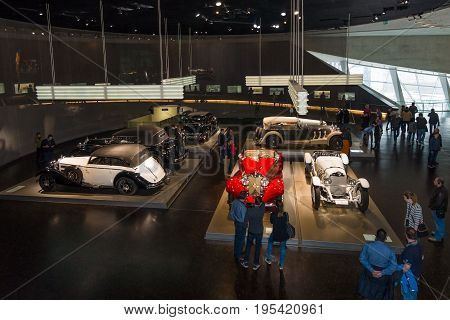 STUTTGART GERMANY- MARCH 19 2016: Exhibition Hall with the cars of the 20s and of 30th years of the 20th century. Mercedes-Benz Museum.
