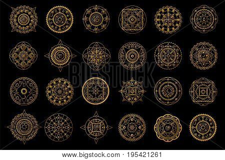 Golden mandalas on black background. Boho style vector design elements. Round eastern ornament clipart. Vector mandalas for wedding design. Luxury oriental motif. Gold mandalas with astrology signs