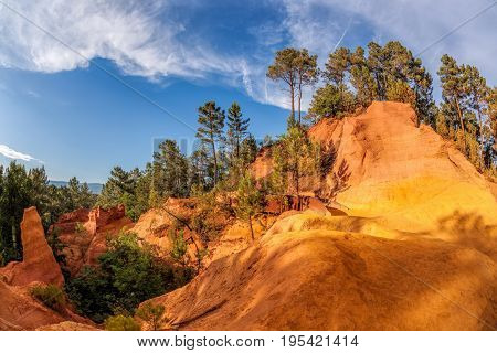 Roussillion Park With Red Rocks In Luberon, Provence, France