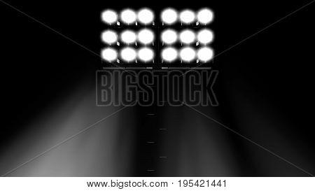 stadium flood lights turned on a black background 3d render illustration front view