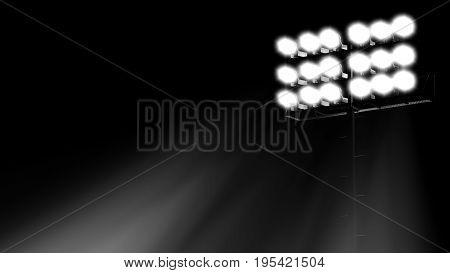 stadium flood lights turned on a black background 3d render illustration side view