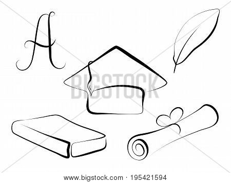 Graduation cap and education symbol vector illustration on white background. Handdrawn graduation cap diploma paper closed book grade A writing feather. Education clipart. Graduation day line icon