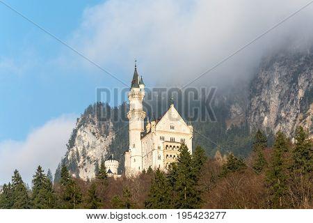 The Famous Fairytale Castle Neuschwanstein Near The Alps