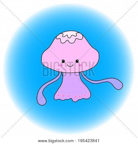 Cute jellyfish cartoon vector illustration. Handdrawn sea animal icon. Princess girl jellyfish in pink dress. Oceanic animal in comic style. Marine animal Nursery clipart. Nautical sticker jellyfish