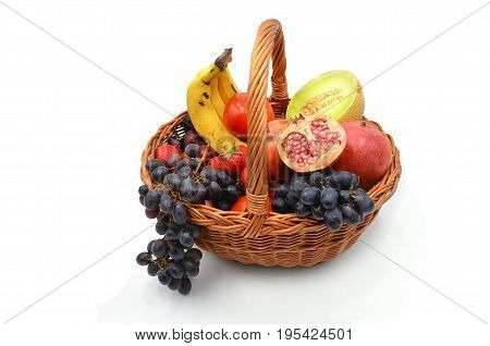 Fruits Basket on white background close up