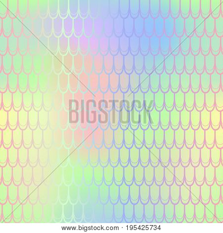 Summer bright fish scale pattern vector texture. Mermaid seamless pattern tile. Fish skin background. Marine animal skin seamless pattern. Colorful mermaid tail. Fishscale with yellow gradient mesh
