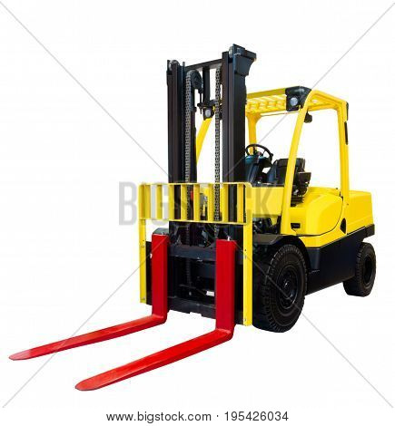 Forklift loader pallet stacker truck equipment yellow isolated on white background