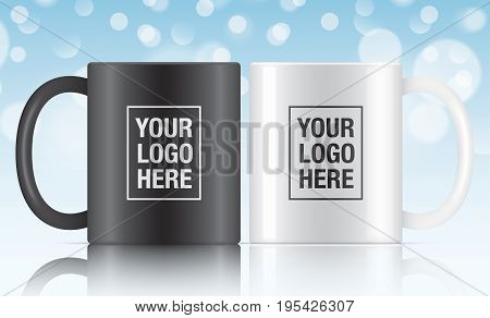 Black and white vector coffee mug templates isolated on a blue bokeh background. Vector mug mockups for your design.