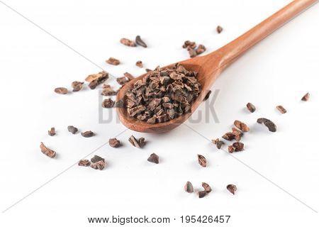 Cocoa Nibs Into A Spoon