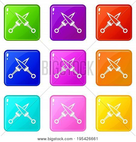 Crossed japanese daggers icons of 9 color set isolated vector illustration