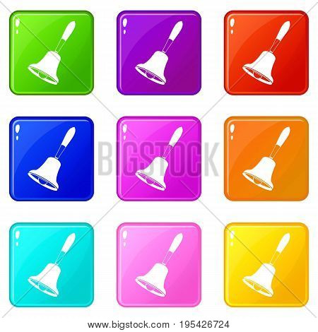 Bell icons of 9 color set isolated vector illustration