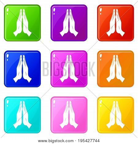 Prayer icons of 9 color set isolated vector illustration