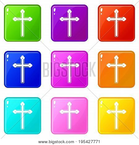 Holy cross icons of 9 color set isolated vector illustration
