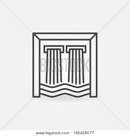 Hydroelectricity outline icon. Vector minimal hydroelectric dam symbol or design element in thin line style