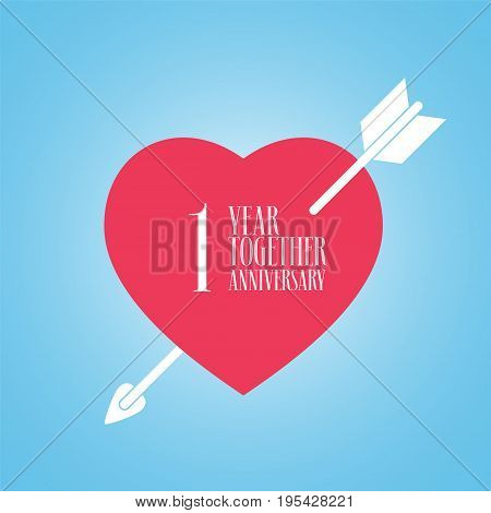 1 years anniversary of wedding or marriage vector icon illustration. Template design element with heart and arrow for celebration of 1st wedding