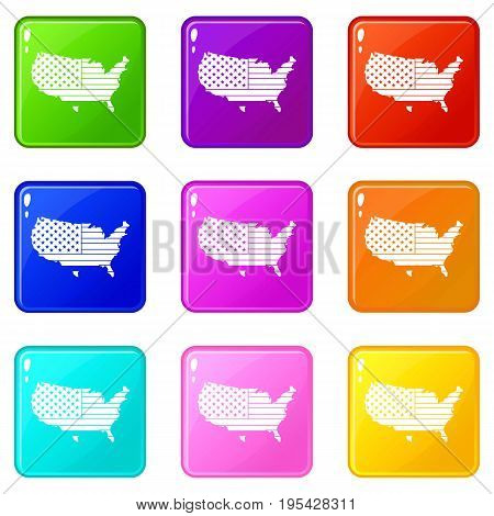 American map icons of 9 color set isolated vector illustration