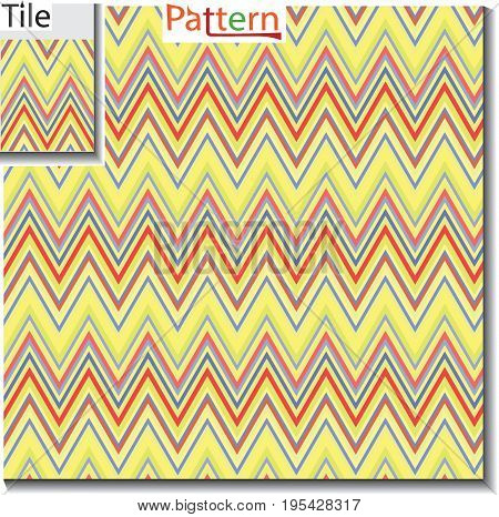 Seamless abstract pattern with zigzag stripes on beautiful colors background in retro colors. Endless pattern can be used for ceramic tile pattern wall-paper linoleum textile web page background.