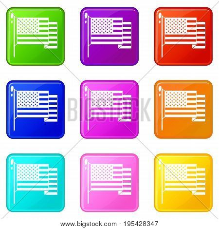 American flag icons of 9 color set isolated vector illustration
