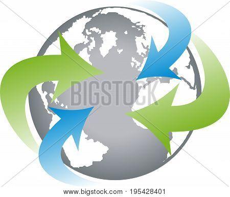 Earth globe and arrows, earth and transportation logo