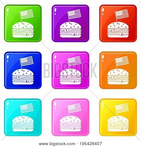 Hamburger icons of 9 color set isolated vector illustration