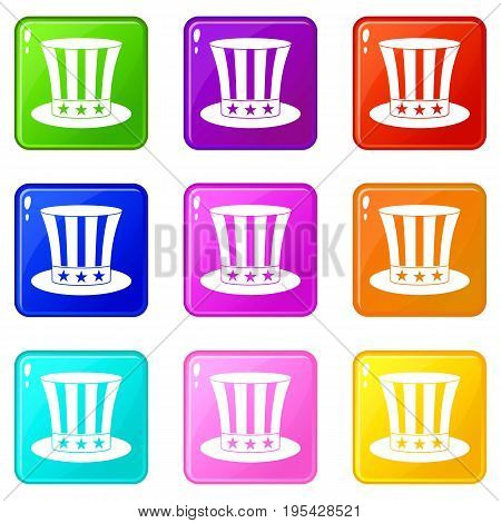 Uncle sam hat icons of 9 color set isolated vector illustration