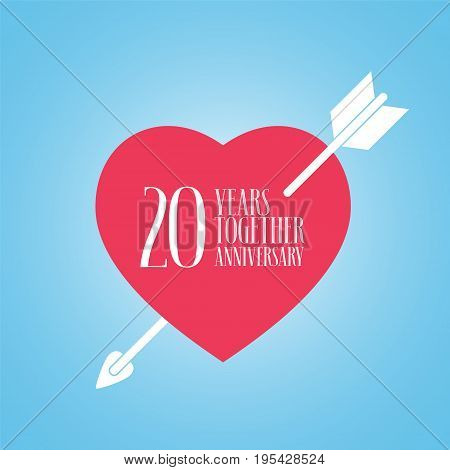 20 years anniversary of wedding or marriage vector icon illustration. Template design element with heart and arrow for celebration of 20th wedding