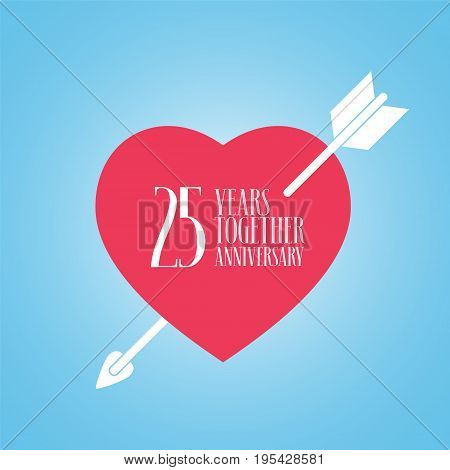 25 years anniversary of wedding or marriage vector icon illustration. Template design element with heart and arrow for celebration of 25th wedding