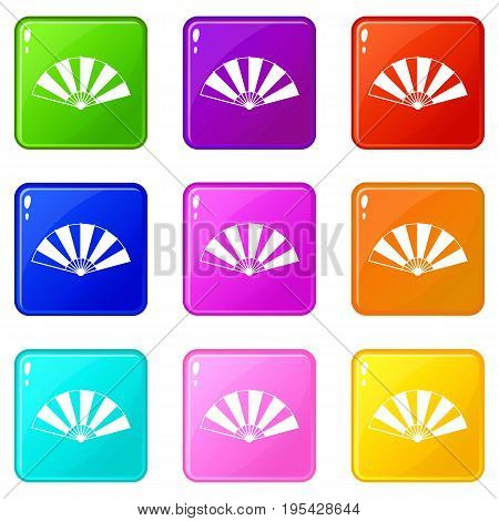 Chinese fan icons of 9 color set isolated vector illustration
