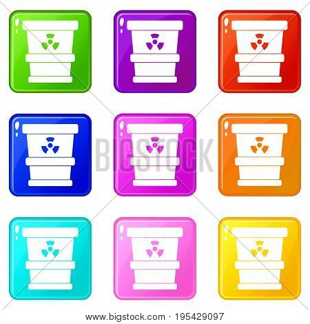 Trashcan containing radioactive waste icons of 9 color set isolated vector illustration