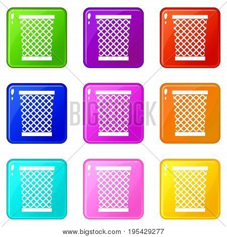 Wastepaper basket icons of 9 color set isolated vector illustration