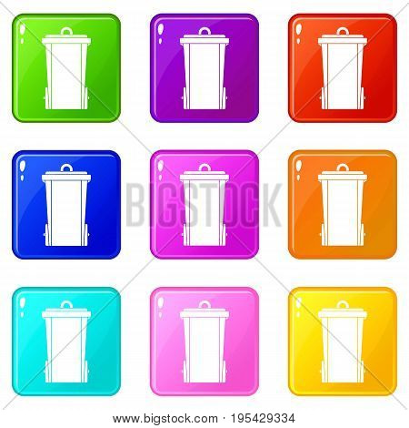 Garbage bin icons of 9 color set isolated vector illustration