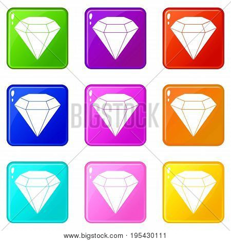 Brilliant gemstone icons of 9 color set isolated vector illustration