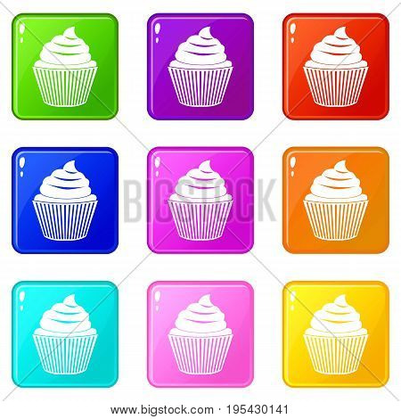 Cupcake icons of 9 color set isolated vector illustration