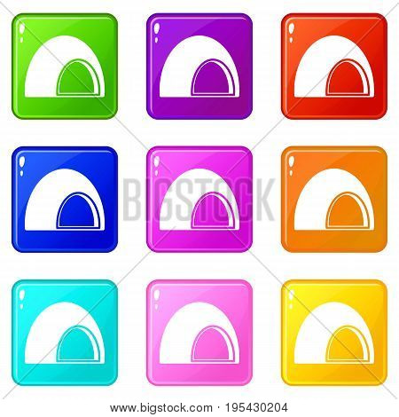 Souffle icons of 9 color set isolated vector illustration