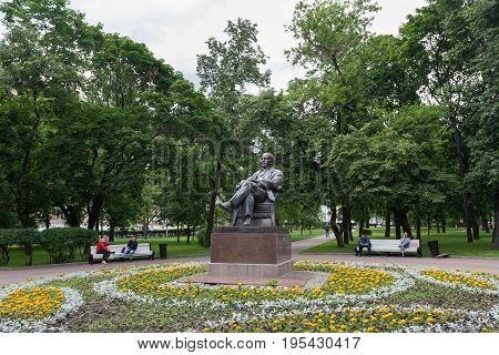 MOSCOW - JULY 5: Monument to Vladimir Lenin and a flower bed in Krasnopresnensky Square on July 5 2017 in Moscow. Vladimir Lenin was Russian revolutionary.
