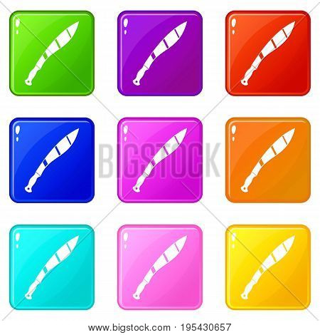 Crooked knife icons of 9 color set isolated vector illustration