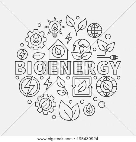 Bioenergy round illustration - vector biomass concept sign. Thin line eco energy circular symbol