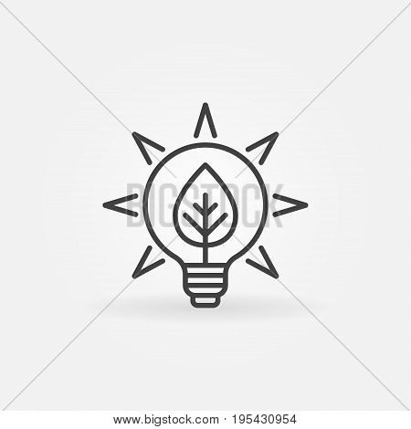 Bulb with leaf icon - vector eco energy concept sign in thin line style