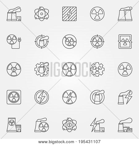 Nuclear power icons set - vector collection of nuclear plants, radiation and energy concept signs in thin line style