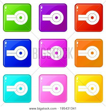 Circular impasse icons of 9 color set isolated vector illustration