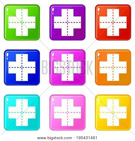 Crossroad icons of 9 color set isolated vector illustration