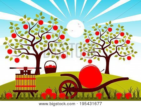 vector fruit press and hand barrow with one big apple in apple orchard