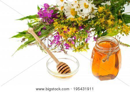 Medicinal herbs and honey in folk medicine. Studio Photo