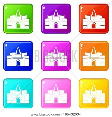 Residential mansion with towers icons of 9 color set isolated vector illustration