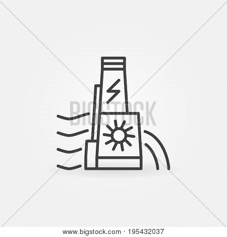 Hydroelectric dam icon - vector hydroelectricity concept sign or design element in thin line style