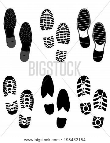Black prints of shoes on a white background