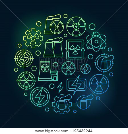 Nuclear energy round colorful illustration. Vector nuclear power circular concept symbol in thin line style on dark background